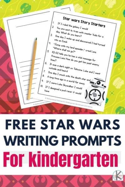 Kindergarten Star Wars FREE Writing Prompts. #freehomeschooldeals #fhdhomeschoolers #StarWarswritingprompts #writingprompts #kindergartenwritingprompts #StarWarsresources