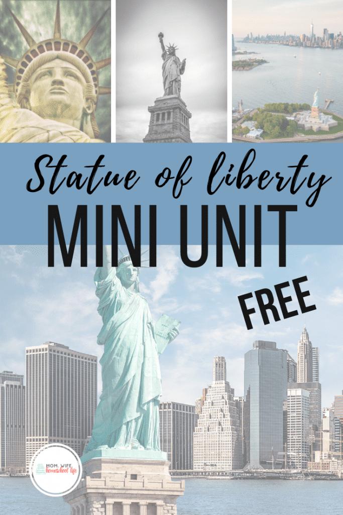 FREE Statue of Liberty Unit Study. #freehomeschooldeals #fhdhomeschoolers #StatueofLiberty #LadyLibertyminiunit #statueoflibertyunitstudy