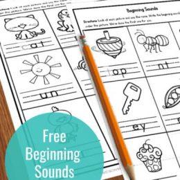 Beginning Sounds FREE Worksheets. #freehomeschooldeals #fhdhomeschoolers #beginningsounds #beginningsoundworksheets #earlyreaderresources