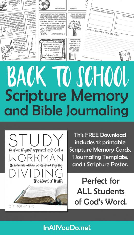 Back to School Scripture Memory FREE Printable Pack. #freehomeschooldeals #fhdhomeschoolers #backtoschool #scripturememory #backtoschoolscriptures