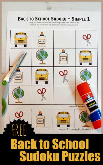 FREE Back to School Sudoku Puzzles. #freehomeschooldeals #fhdhomeschoolers #backtoschoolpuzzles #sudokupuzzles #backtoschoolgame