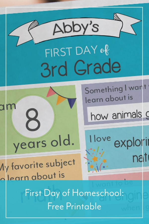 FREE Printable for the First Day of Homeschool. #freehomeschooldeals #fhdhomeschoolers #firstdayofhomeschool #firstdayofschool