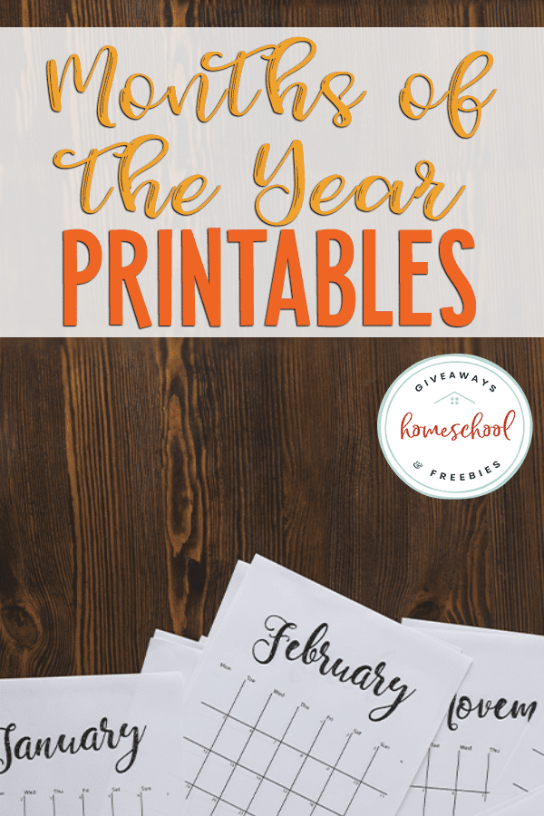 FREE Months of the Year Printables. #freehomeschooldeals #fhdhomeschoolers #monthsoftheyear #monthsoftheyearresources #monthprintables