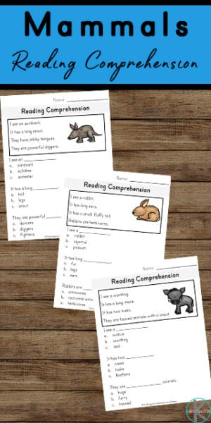 FREE Reading Comprehension Mammal Worksheets. #freehomeschooldeals #fhdhomeschoolers #readingcomprehensionworksheets #mammalreadingcomprehension #mammalworksheets