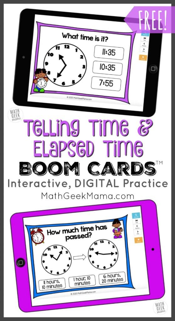 FREE Digital Telling Time Cards. #freehomeschooldeals #fhdhomeschoolers #tellingtime #tellingelapsedtime #elapsedtime #digitaltellingtimeresource #tellingtimecards
