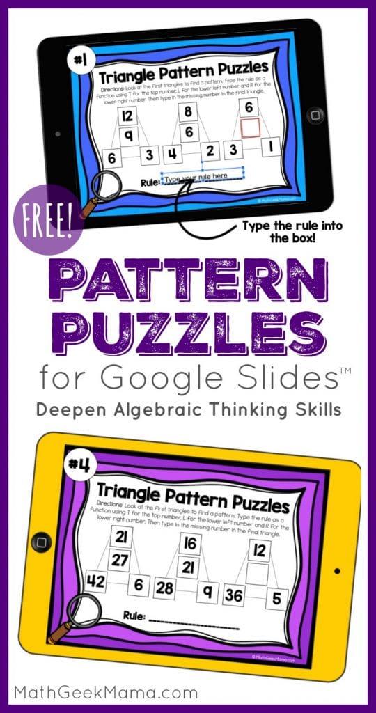 FREE Digital Pattern Puzzles. #freehomeschooldeals #fhdhomeschoolers #digitalpatternpuzzles #digitalpuzzles #trianglepuzzles #criticalthinking #algebraicthinking