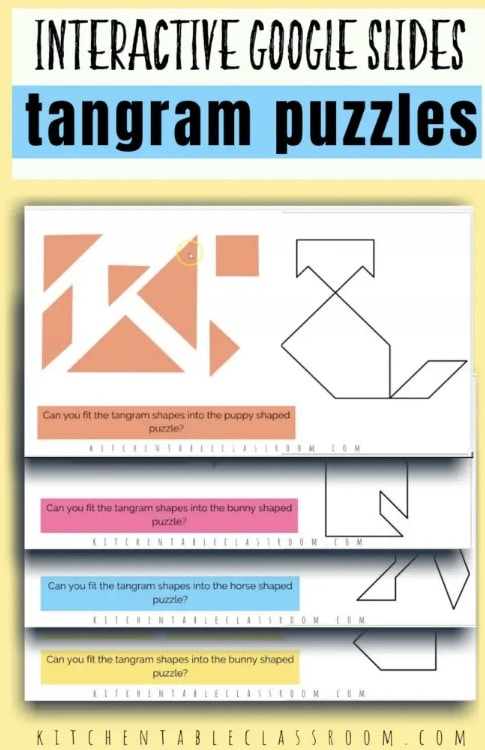 FREE Online Google Slide Tangram Puzzles. #freehomeschooldeals #fhdhomeschoolers #GoogleSlides #tangrampuzzles #Chinesepuzzles #tangramresource