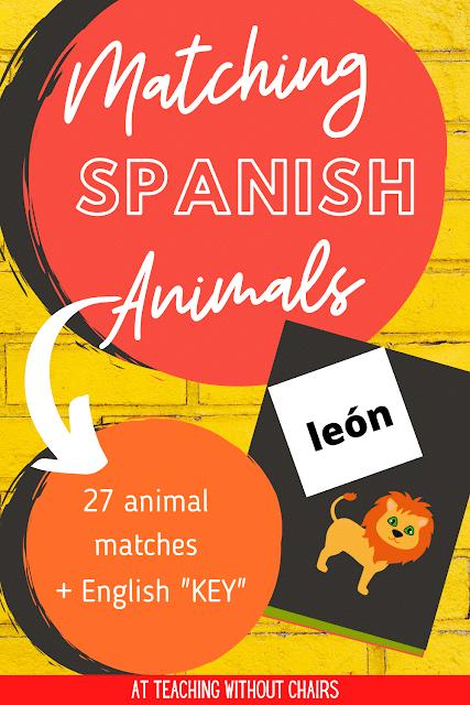 FREE Spanish Animals Matching Game. #freehomeschooldeals #fhdhomeschoolers #Spanishanimals #animalmatchingame #Spanishanimalnames #Spanishmatchingcards