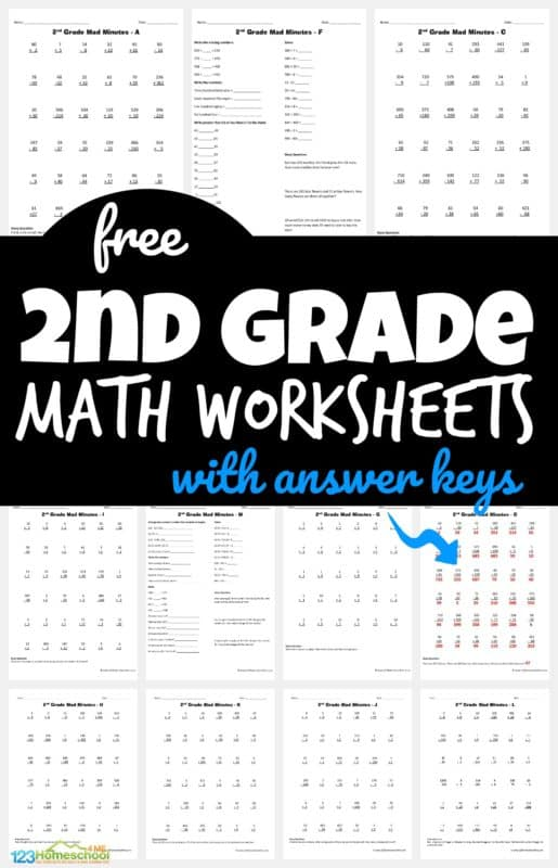 2nd Grade FREE Math Worksheets. #freehomeschooldeals #fhdhomeschoolers #MADMINUTES #secondgrademath #secondgradeprintables #mathworksheets