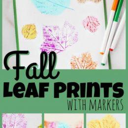 Craft Fall Leaf Marker Prints. #freehomeschooldeals #fhdhomeschoolers #fallmarkercraft #leafmarkercraft #leafmarkerprints