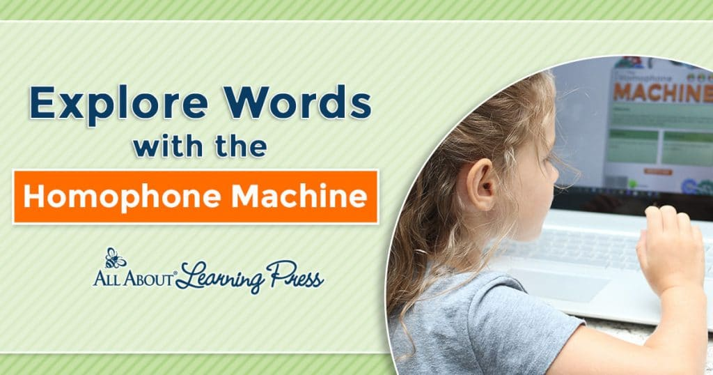 "young girl playing ""Homophone Machine"" computer game"