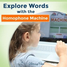 """young girl playing """"Homophone Machine"""" computer game"""
