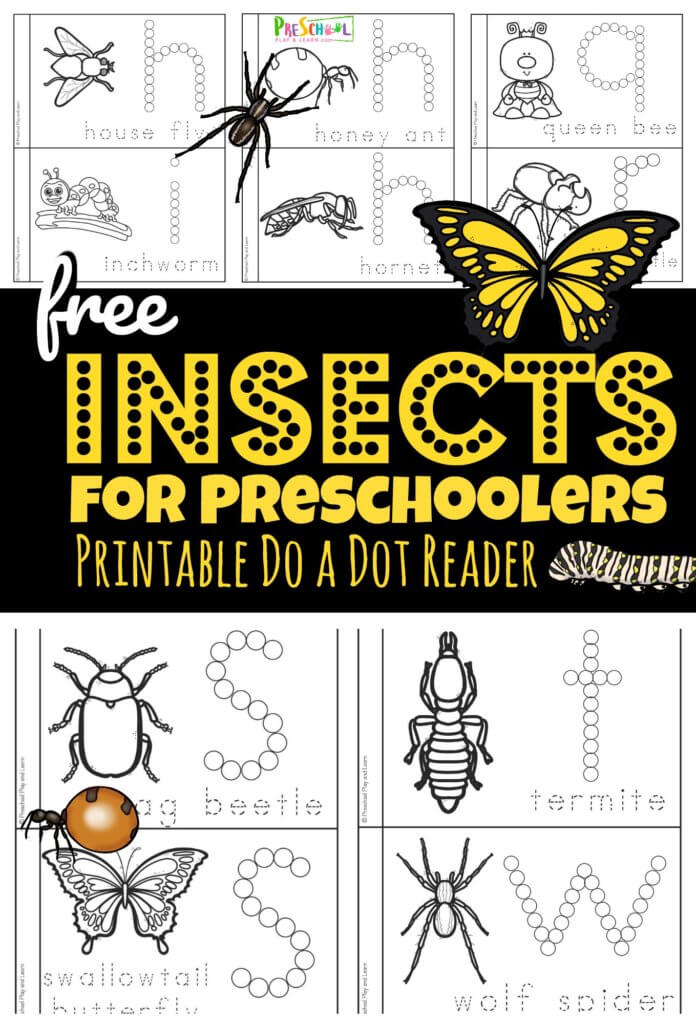 FREE Printable Preschool Insect Book. #freehomeschooldeals #fhdhomeschoolers #preschoolinsectbook #insectprintablebook #printableinsectbook
