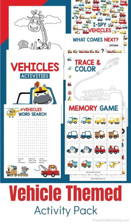 Vehicle-Theme FREE Printable Kid Activities. #freehomeschooldeals #fhdhomeschoolers #vehiclethemeprintables #vehiclekidactivities #vehicleactivities