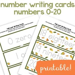 Fall Leaves Writing Numbers FREE Printables. #fallleavesprintables #numberwriting #writenumbers #numberwritingcards #numbers0to20