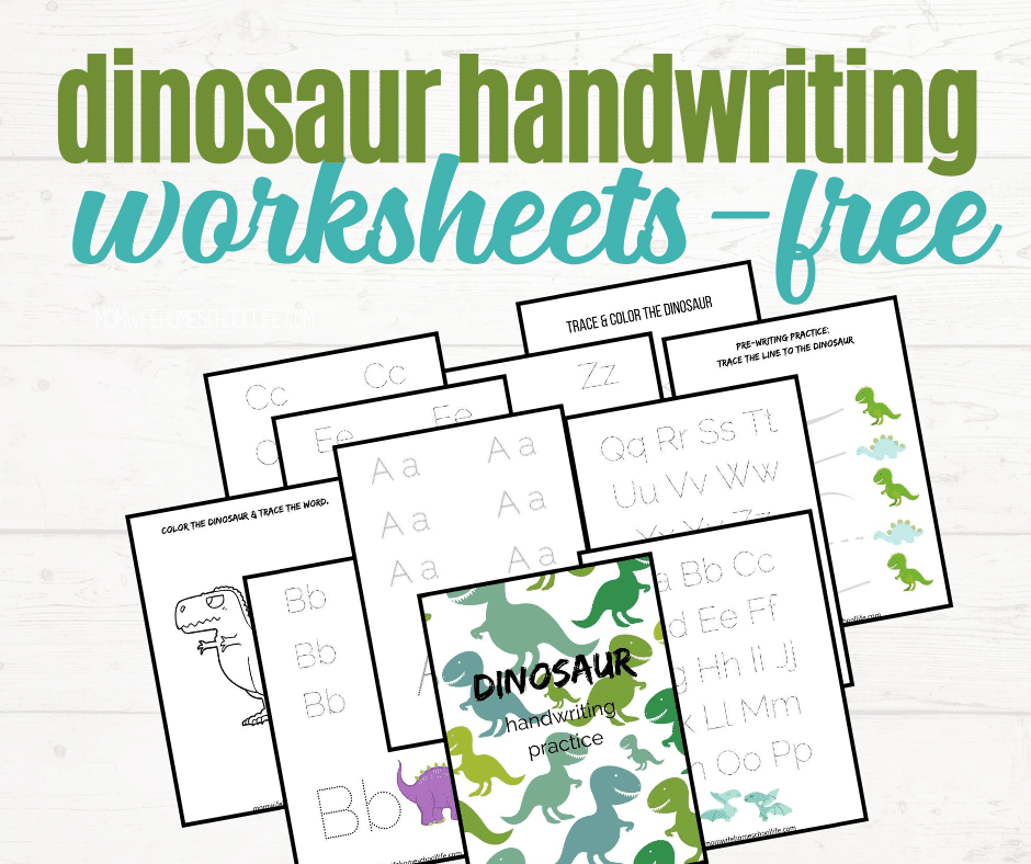 FREE Preschool Dinosaur Handwriting Worksheets. #freehomeschooldeals #fhdhomeschoolers #dinosaurhandwritingsheets #handwritingworksheets #dinosaurthemed #handwritingprintables