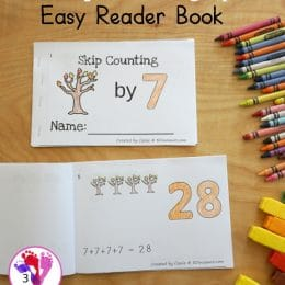 Skip Counting by 7 FREE Fall Easy Reader. #freehomeschooldeals #fhdhomeschoolers #skipcounting #countingby7 #treeeasyreaderbook