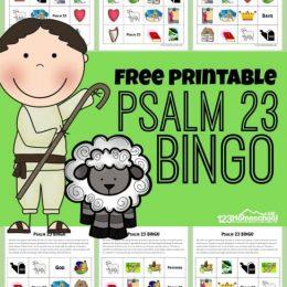 Psalm 23 FREE Printable Bingo Game. #freehomeschooldeals #fhdhomeschoolers #Psalm23printables #Psalm23activities #Psalm23bingogame