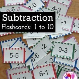 FREE Subtraction 1-10 Flashcards. #freehomeschooldeals #fhdhomeschoolers #subtractionflashcards #flashcardsforsubtracting #subtractionpractice