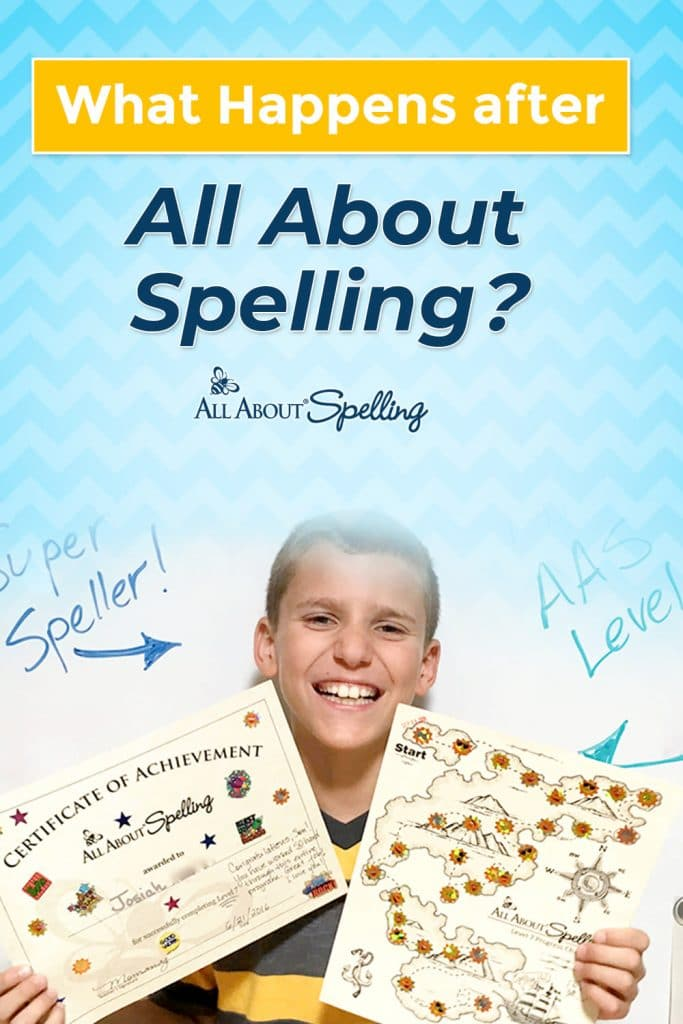 child holding spelling certificates - overlay: What Happens After All About Spelling?