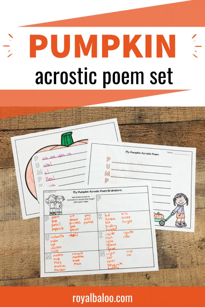 FREE Pumpkin Acrostic Poem Printable. #poetryforkids #poetryprintable #acrosticprintableforkids #fhdhomeschoolers #freehomeschooldeals