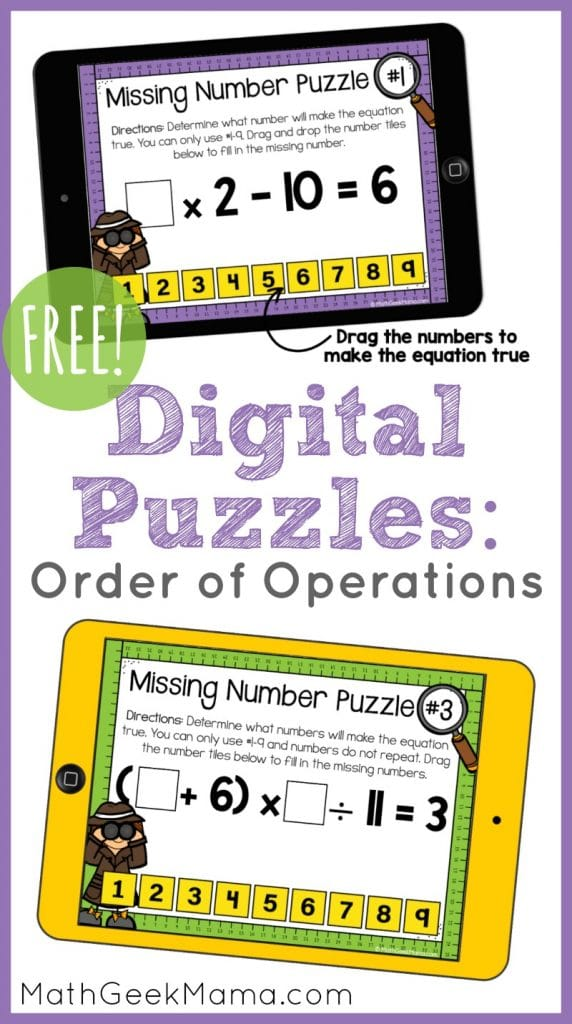 FREE Order of Operations Math Activity. #orderofoperations #mathpuzzles #interactivemathforkids #fhdhomeschoolers #freehomeschooldeals