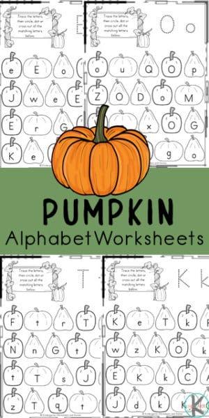 FREE Printable Kindergarten Pumpkin Worksheets. #kindergartenletterworksheets #pumpkinworksheets #fallkindergartenworksheets #freehomeschooldeals #fhdhomeschoolers