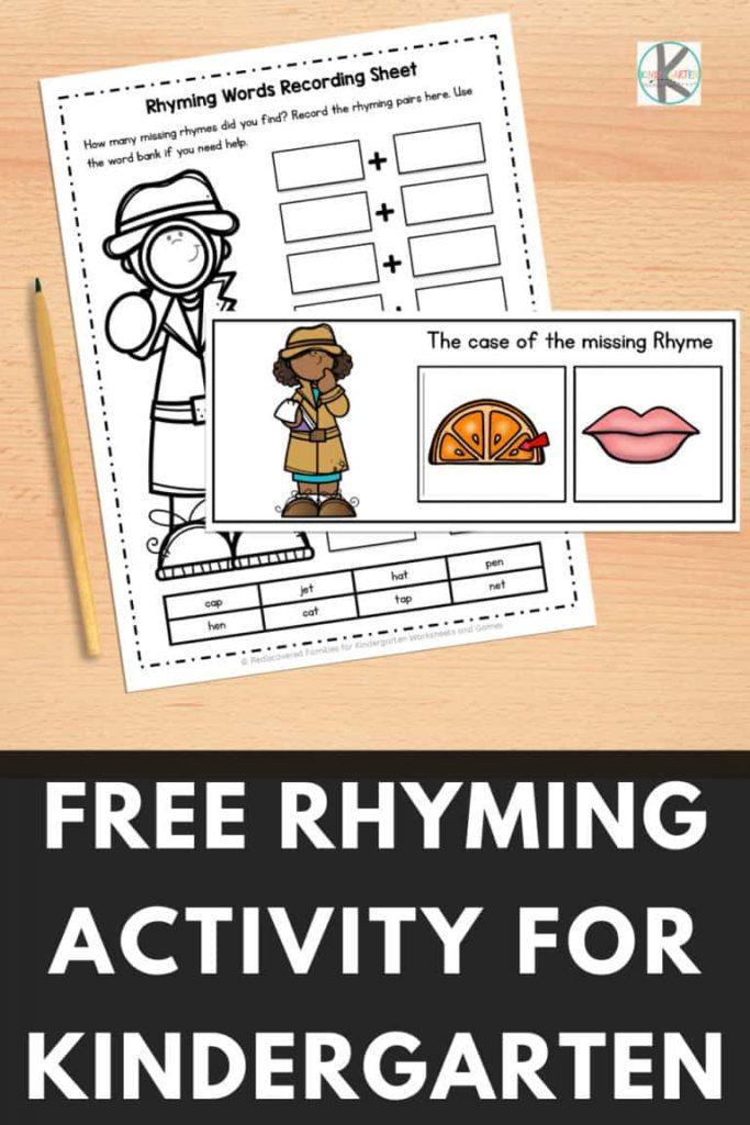 FREE Early Learning Rhyming Activity. #rhymingactivity #rhyminggameskindergarten #rhymingforkids #freehomeschooldeals #fhdhomeschoolers