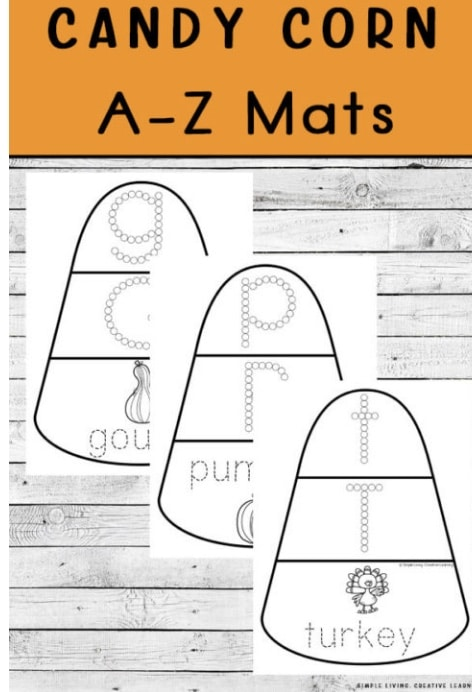 FREE Candy Corn Alphabet Learning Mats. #fhdhomeschoolers #freehomeschooldeals #falllearningmats #freealphabetworksheets #halloweenalphabetworksheets #candycornactivities
