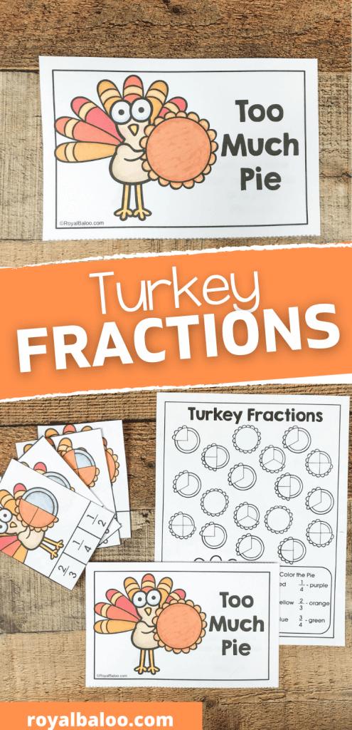 Turkey Fractions Activity Booklet. #freefractionspages #fractionsworksheets #fractionpracticesheets #freehomeschooldeals #fhdhomeschoolers