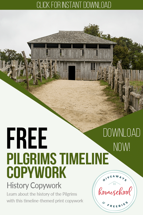Free Pilgrims Timeline Copywork Pages. #freecopyworkpages #historycopywork #pilgrimscopywork #freehomeschooldeals #fhdhomeschoolers