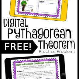Pythagorean Theorem Digital Practice Problems. #pythagoreantheorem #geometrypracticeproblems #geometryhelp #freehomeschooldeals #fhdhomeschoolers