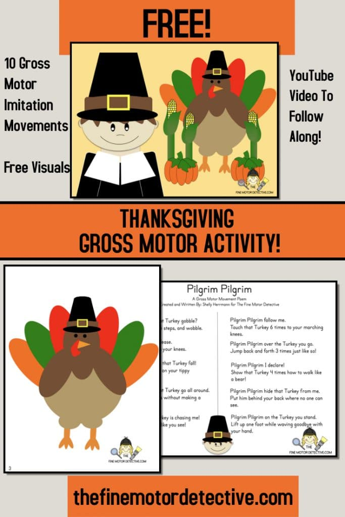 FREE Thanksgiving Gross Motor Activity. #thanksgivingactivity #grossmotoractivity #freehomeschooldeals #fhdhomeschoolers