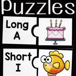 Vowel Sounds Printable Puzzles. #vowelsoundsgame #vowelsoundspractice #longandshortvowels #freehomeschooldeals #fhdhomeschoolers