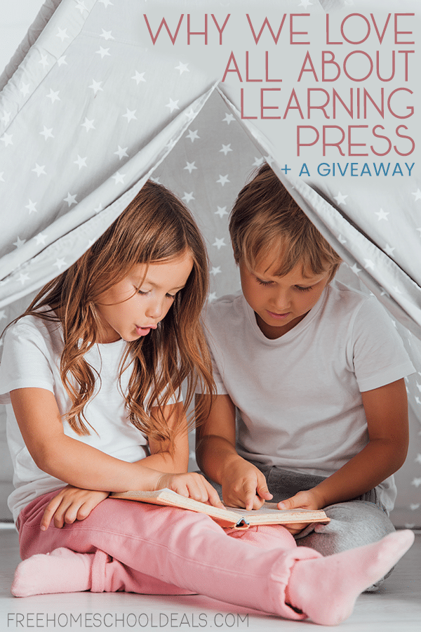 "two children reading in a homemade tent- overlay ""Why we Love All About Learning Press + Giveaway"""