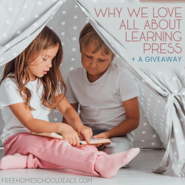 """two children reading in a homemade tent- overlay """"Why we Love All About Learning Press + Giveaway"""""""