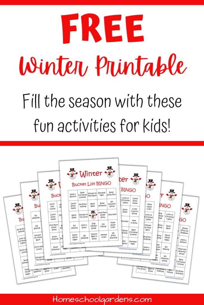 Printable Winter Bingo Game. #freeprintablegames #printablefamilygames #freekidsbingogame #freehomeschooldeals #fhdhomeschoolers