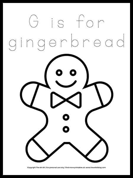 Gingerbread Letter G Coloring Page. #gingerbreadworksheets #christmaspreschoolworksheets #freegingerbreadcoloringpage #freehomeschooldeals #fhdhomeschoolers