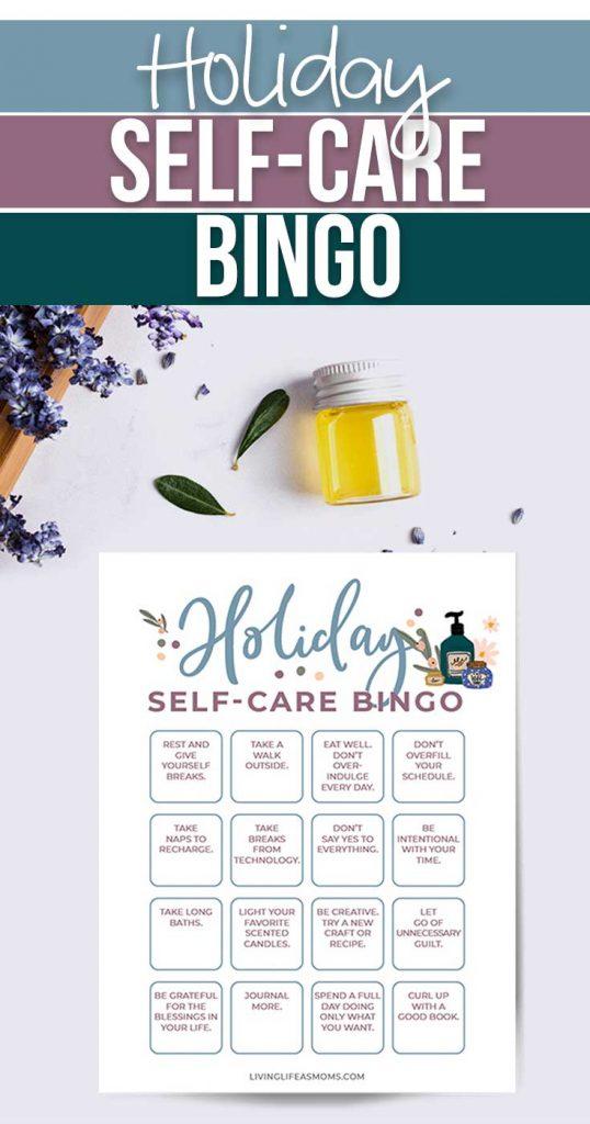 Holiday Self-Care Bingo Printable. #selfcareformoms #selfcareideas #freeselfcareprintable #freehomeschooldeals #fhdhomeschoolers