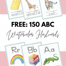 Free Watercolor Alphabet Flashcards. #alphabetflashcards #abcflashcards #preschoolflashcards #freehomeschooldeals #fhdhomeschoolers