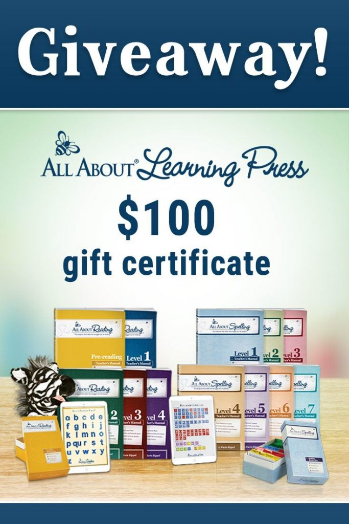 All About Learning Press products with overlay Giveaway - $100 Gift Certificate
