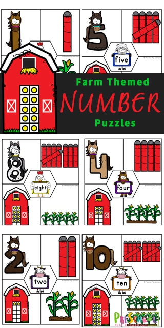 Farm Animal Counting Puzzles. #countingpuzzles #preschoolmathgames #preschoolmathpuzzles #freehomeschooldeals #fhdhomeschoolers