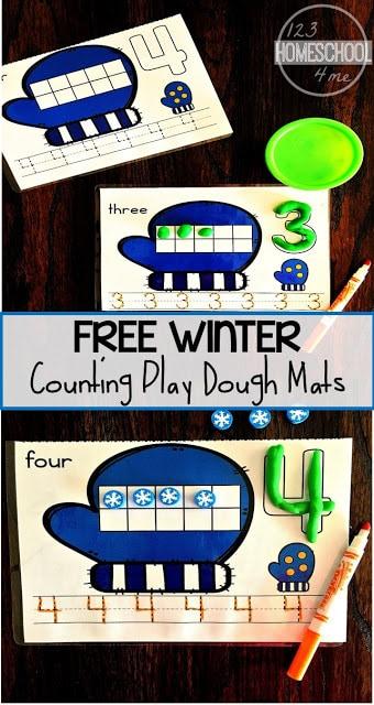 Winter Play Dough Math Mats. #freeplaydoughmats #mathplaydoughmats #kindergartenplaydoughmats #freehomeschooldeals #fhdhomeschoolers