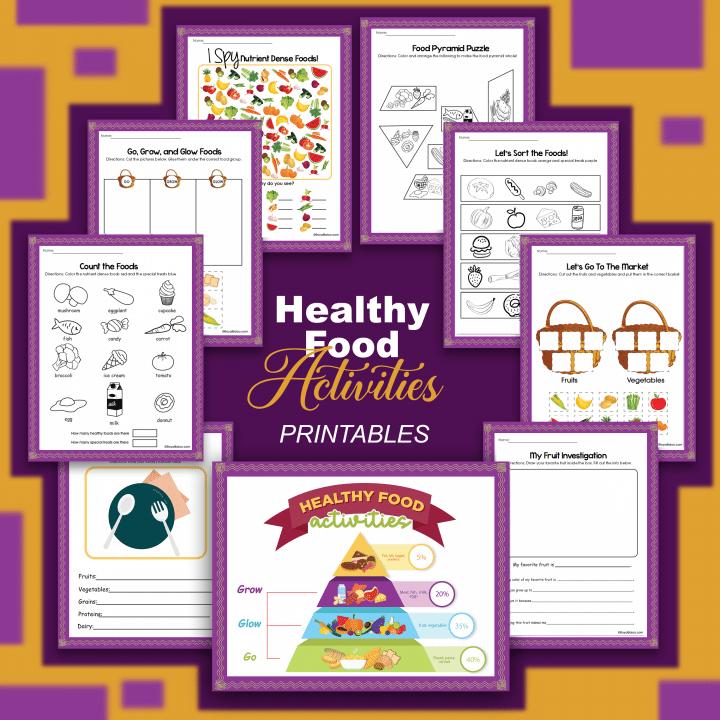 Healthy Foods Mini Unit Study. #healthyfoodforkids #foodpyramidforkids #nutritionunitstudy #freehomeschooldeals #fhdhomeschoolers