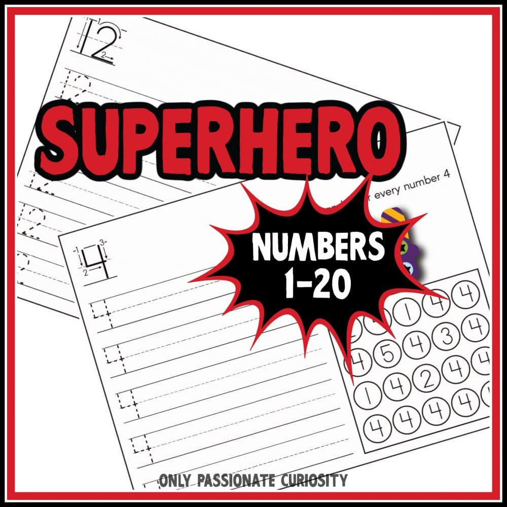 Free Superhero Number Worksheets. #freecountingworksheets #preschoolnumberworksheets #superheroworksheets #freehomeschooldeals #fhdhomeschoolers