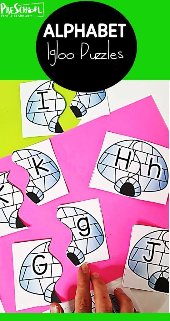 Preschool ABC Igloo Puzzles. #freealphabetgames #printablealphabetgames #preschoolalphabetgames  #freehomeschooldeals #fhdhomeschoolers