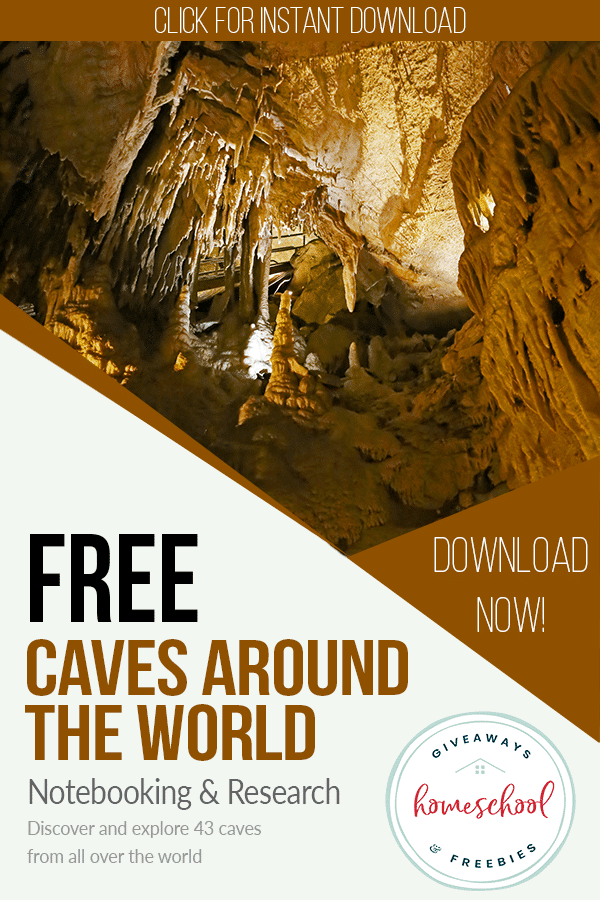 Free Caves Notebooking Activity. #cavesunitstudy #freeunitstudies #geographyunitstudy #freehomeschooldeals #fhdhomeschoolers