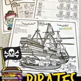 Parts of Speech Pirate Printables. #partsofspeechworksheets #freelanguageartsprintables #nounsandverbsworksheets #freehomeschooldeals #fhdhomeschoolers