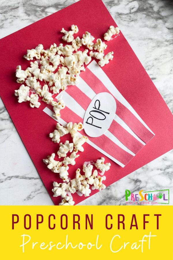 Popcorn Craft for Kids. #popcorncraft #preschoolcraft #easycraftforkids #freehomeschooldeals #fhdhomeschoolers