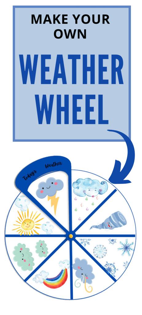Printable Weather Wheel for Kids. #weatherprintables #freeweatherwheel #freeweatheractivity #freehomeschooldeals #fhdhomeschoolers